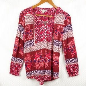 Lucky Brand Red patch peasant top, size small